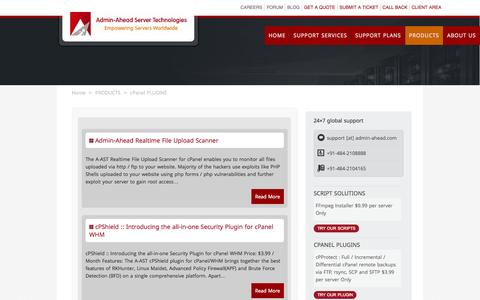 Screenshot of Products Page admin-ahead.com - cPanel PLUGINS - captured Oct. 29, 2014