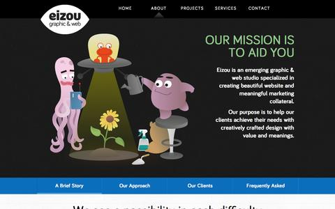 Screenshot of About Page eizougraphic.com - EIZOU | Jakarta Based Graphic Design & Web Developer - captured Oct. 2, 2014