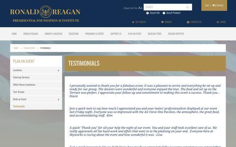 Screenshot of Testimonials Page reaganfoundation.org - Testimonials | The Ronald Reagan Presidential Foundation & Institute - captured Nov. 17, 2016