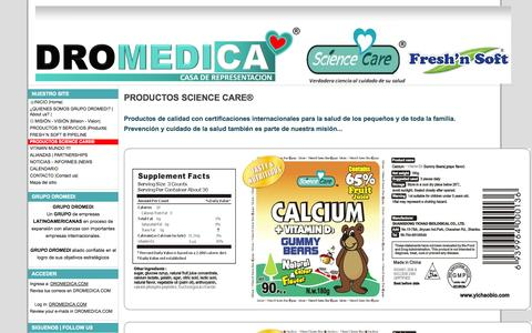 Screenshot of Products Page dromedica.com - PRODUCTOS SCIENCE CARE® - DROMEDICA - captured Oct. 5, 2014