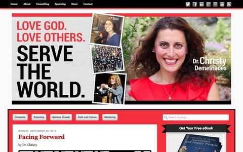 Screenshot of Home Page drchristyd.com - Christy Demetriades, Ph.D. - Love God, Love Others, Serve The World - captured Oct. 5, 2014