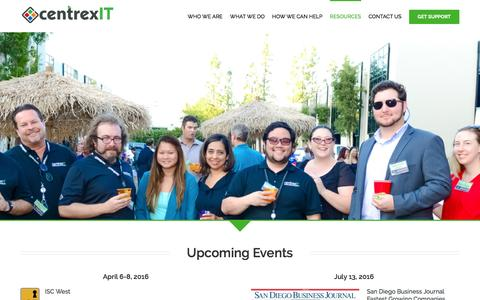 Screenshot of centrexit.com - Events - centrexIT - captured March 19, 2016