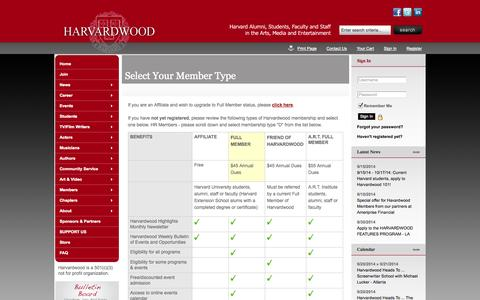 Screenshot of Signup Page site-ym.com - Harvardwood - captured Sept. 18, 2014