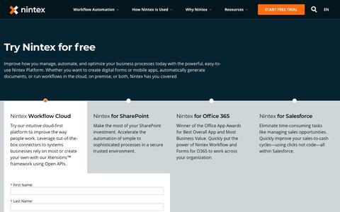 Screenshot of Trial Page nintex.com - Trial v2 - Nintex - captured Nov. 15, 2018