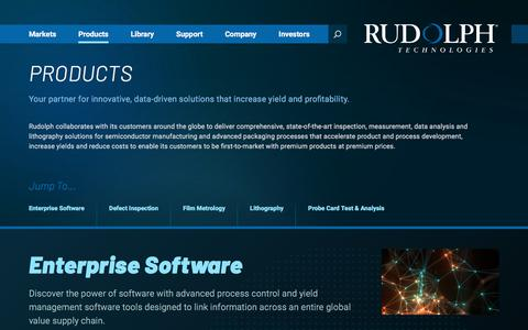 Screenshot of Products Page rudolphtech.com - Products - Rudolph Technologies - captured Sept. 23, 2018