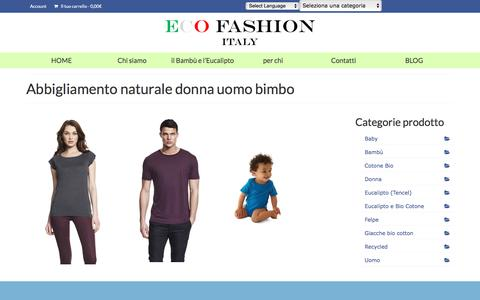 Screenshot of Home Page ecofashionitaly.com - ECO FASHION ITALY – abbigliamento in Bambù ed Eucalipto – morbide anallergiche e ultra traspiranti - captured Jan. 22, 2016
