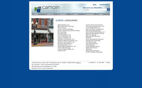 Screenshot of Developers Page camoinassociates.com - Camoin Associates: Economic and Community Development | CLIENTS - DEVELOPERS - captured Oct. 1, 2014