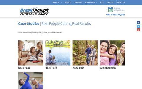 Screenshot of Case Studies Page breakthroughptclinics.com - Case Studies | BreakThrough Physical Therapy - captured Nov. 23, 2016
