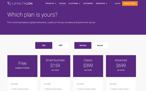 Screenshot of Pricing Page loyaltylion.com - Pricing and full features list  | LoyaltyLion - captured July 13, 2018