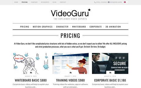 Screenshot of Pricing Page vdo.guru - Video Guru - Explainer Videos Pricing - captured Oct. 19, 2018