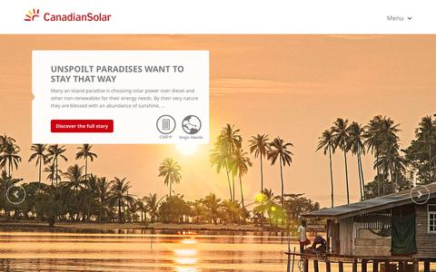 Screenshot of Home Page canadiansolar.com - Canadian Solar - Make The Difference - captured June 18, 2017