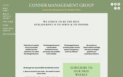 Screenshot of Home Page connermg.com - Conner Management Group - captured Jan. 30, 2016