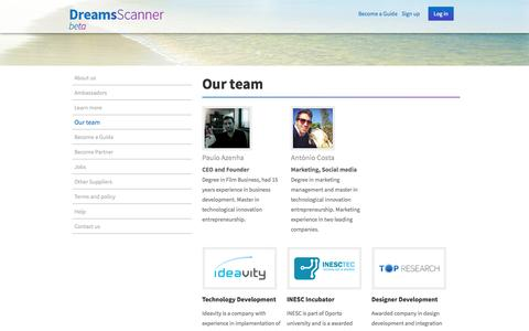 Screenshot of Team Page dreamsscanner.com - DreamsScanner - captured Oct. 5, 2014