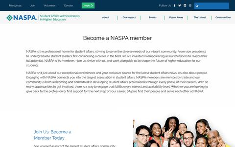 Screenshot of Signup Page naspa.org - Become a NASPA member - captured Oct. 23, 2019