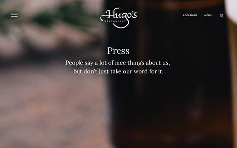 Screenshot of Press Page hugosrestaurant.com - Press - captured Jan. 23, 2016