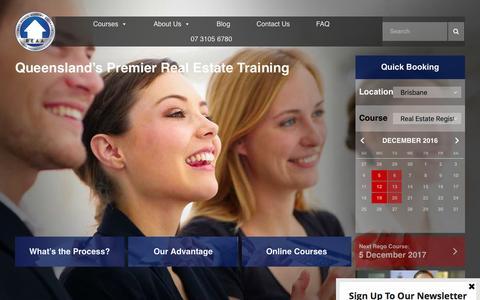 Screenshot of Home Page reaa.com.au - Real Estate Agent Sales Training Courses Brisbane QLD - captured Dec. 1, 2016