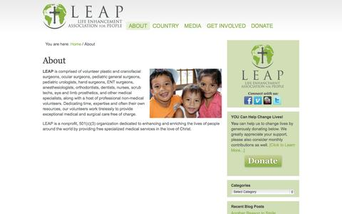 Screenshot of About Page leap-foundation.org - About - captured Oct. 1, 2014