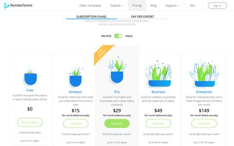 Screenshot of Pricing Page renderforest.com - Subscription plans | Renderforest | Renderforest - captured Oct. 19, 2018