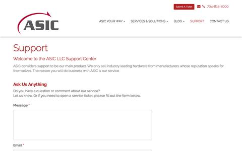 Screenshot of Support Page asicllc.com - Support - Matthews, Charlotte, Indian Trail | ASIC - captured July 28, 2018