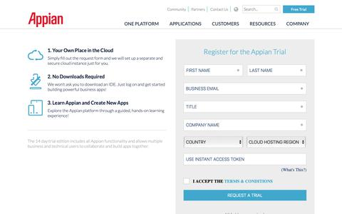 Screenshot of Trial Page appian.com - Appian Free Trial Registration - Sign Up for a Test Drive | Appian - captured March 14, 2019