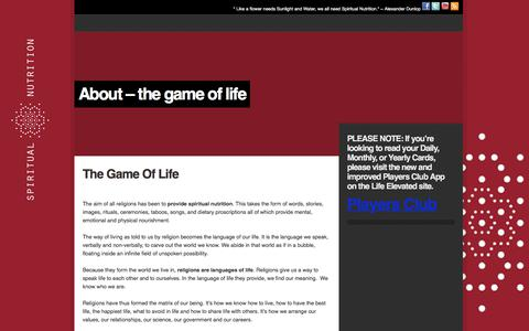 Screenshot of About Page spiritualnutrition.org - About – the game of life – - captured Oct. 22, 2017