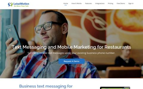Screenshot of Home Page lokalclub.com - LokalMotion: SMS for Restaurants - captured Jan. 31, 2016