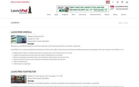 Screenshot of Locations Page launchpadli.com - Locations   LaunchPad Long Island - captured Oct. 2, 2014