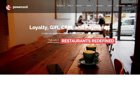 Screenshot of Home Page powercard.com - PowerCard | Loyalty, Mobile Rewards, Gift, CRM, and Payments for Restaurants - captured Jan. 30, 2016