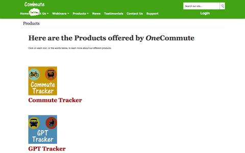 Screenshot of Products Page onecommute.com - Products offered by OneCommute and Celwell - One Commute - captured Oct. 28, 2014