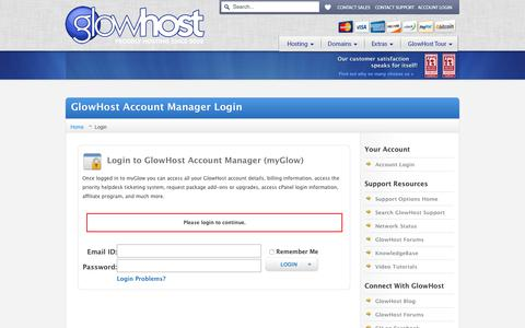 Screenshot of Login Page glowhost.com - GlowHost Account Manager Login - captured Jan. 30, 2016