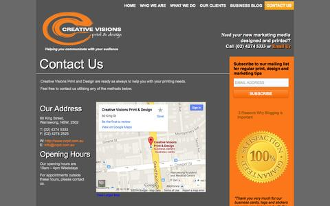 Screenshot of Contact Page cvpd.com.au - Contact Us - Creative Visions Print and Design - captured Oct. 3, 2014