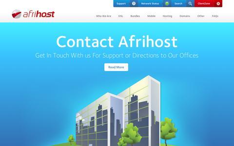 Screenshot of Contact Page afrihost.com - Contact Details - captured Sept. 18, 2014