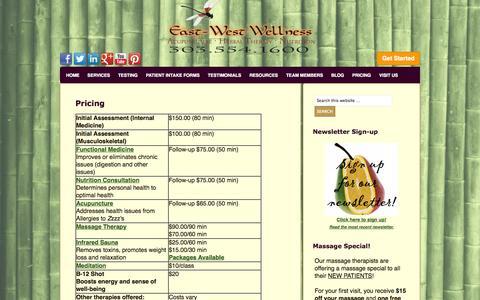 Screenshot of Pricing Page ewwellness.com - Pricing   East West Wellness - captured Oct. 1, 2014