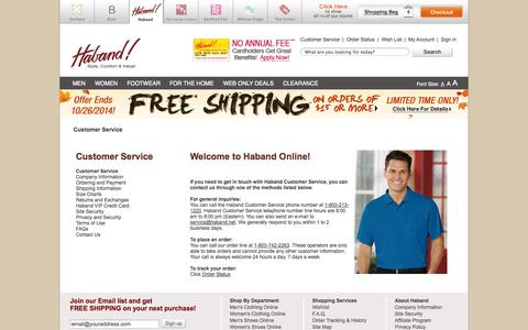 Screenshot of Support Page haband.com - Customer Service | Haband - captured Oct. 25, 2014