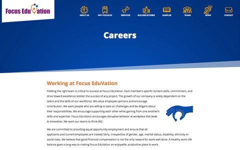 Screenshot of Jobs Page focuseduvation.com - e-Learning Careers - Focus EduVation - captured Oct. 29, 2014