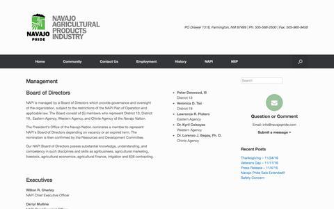 Screenshot of Team Page navajopride.com - Management | Navajo Agricultural Products Industry - captured Nov. 29, 2016