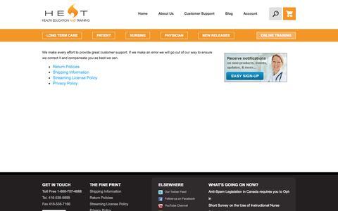 Screenshot of Support Page heatinc.ca - Customer Support - captured Sept. 29, 2014