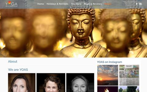 Screenshot of About Page Privacy Page Terms Page yogaonashoestring.com - About : YOAS – Yoga on a Shoestring - captured June 29, 2018
