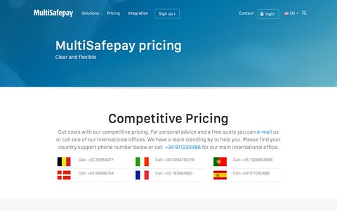 Screenshot of Pricing Page multisafepay.com - Personalised pricing for all online payment methods   MultiSafepay - captured Dec. 3, 2015