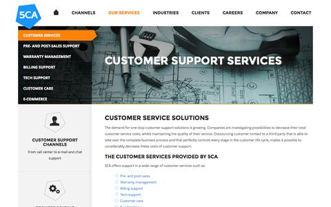 Screenshot of Services Page 5ca.com - Customer support for every type of customer service - captured Sept. 30, 2014