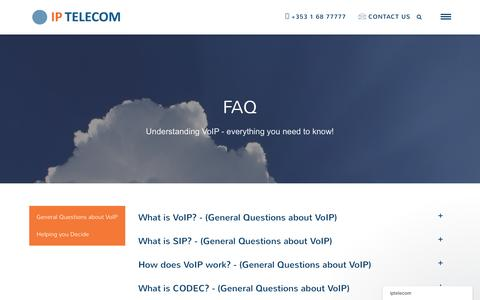 Screenshot of FAQ Page iptelecom.ie - General Questions about VoIP | IP Telecom - captured Nov. 19, 2016
