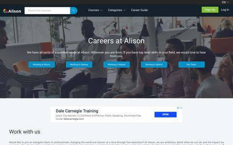 Screenshot of Jobs Page alison.com - Exceptional Ambition Requires Exceptional Talent | Alison - captured Nov. 2, 2018