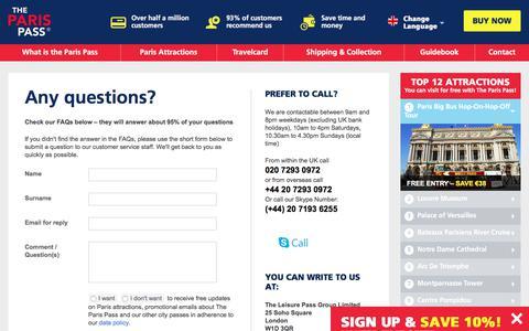 Screenshot of Contact Page FAQ Page parispass.com - Paris Pass Contact Details - Paris Pass Customer Service Details - captured Sept. 22, 2018