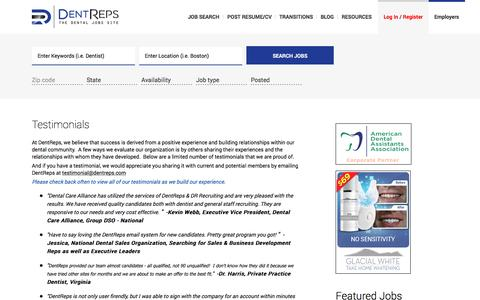 Screenshot of Testimonials Page dentreps.com - The Dental Jobs Site  -  Where Dentistry & Job Seekers Connect!​ - captured Nov. 24, 2016