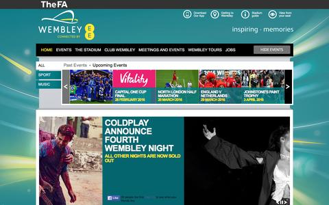 Screenshot of Home Page wembleystadium.com - Home | Wembley Stadium - captured Feb. 16, 2016