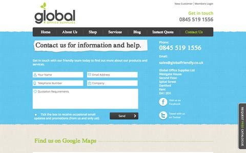 Screenshot of Contact Page globalofficesupplies.co.uk - Contact Us | Global Office Supplies - captured Oct. 1, 2014