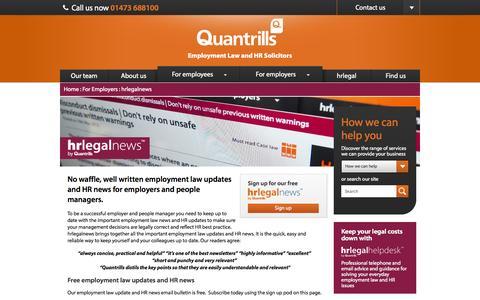 Screenshot of Press Page quantrills.com - hrlegalnews | Employment law updates and HR news | Quantrills employment law solicitors, Ipswich - captured Sept. 19, 2014