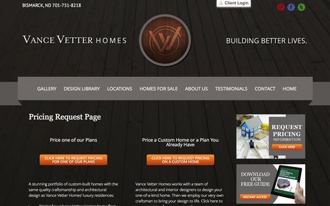 Screenshot of Pricing Page vancevetterhomes.com - Vance Vetter -   Pricing Request Page - captured Jan. 10, 2016