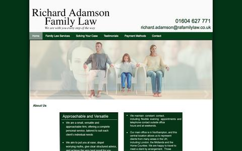 Screenshot of Home Page ra-familylaw.co.uk - Collaborative lawyer, family law specialists - Northampton | Richard Adamson Family Law - captured Jan. 26, 2015