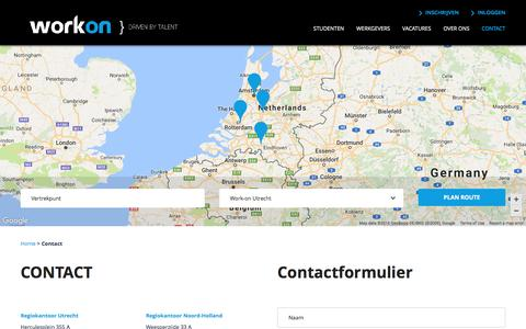Screenshot of Contact Page work-on.nl - CONTACT - Work-on - captured Dec. 18, 2016